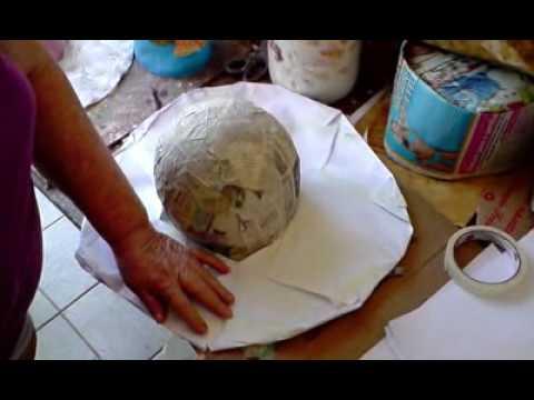 Artesanato em Papel Mache (Handcrafts) - Chapéu de Praia - YouTube 27e4e9e9d43