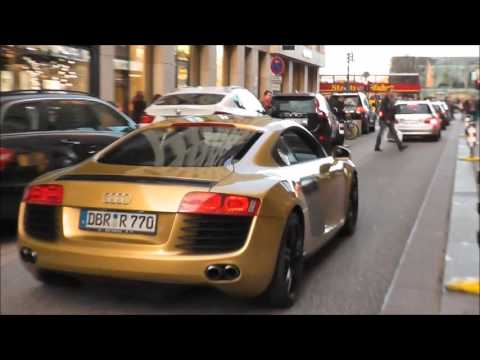 gold audi r8 in hamburg youtube. Black Bedroom Furniture Sets. Home Design Ideas
