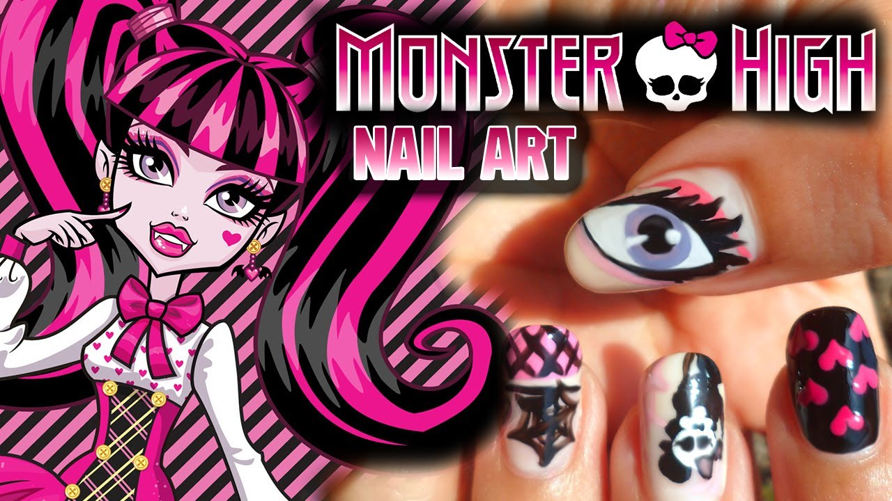 Monster High Nail Art Draculaura Inspired Requested Youtube