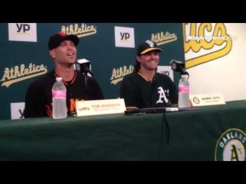 "Tim Hudson on facing Barry Zito: ""Some of the kids in the stands don't have a clue who we are. Their"