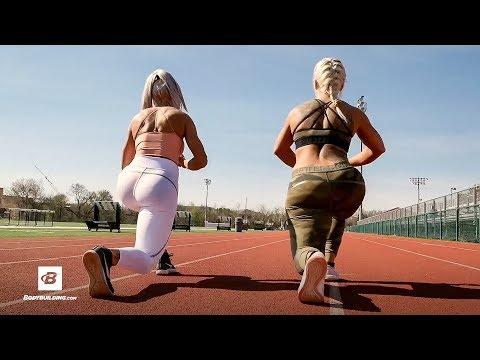 Swedish Fitness Model Outdoor Track HIIT Workout | Anna Staalnacke & Caroline Aspenskog