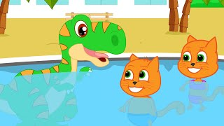 Cats Family in English  Dinosaur Swimming in The Pool Cartoon for Kids