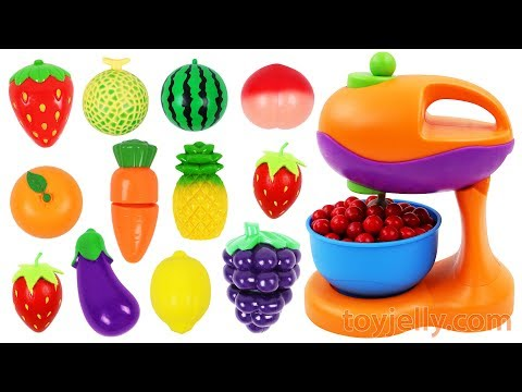 How to Make Cake Learn Fruits & Vegetables & Toy Mixer Playset Velcro Toys Nursery Rhymes for Kids