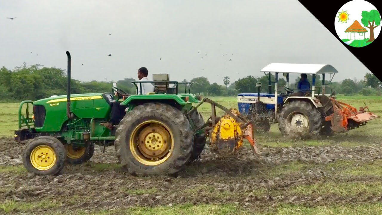 tractor racing video in village john deere tractor vs swaraj 744 tractor tractor vs tractor [ 1280 x 720 Pixel ]