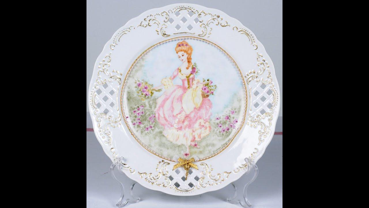 Como pintar una rosa pintar un plato de porcelana maria for Platos para