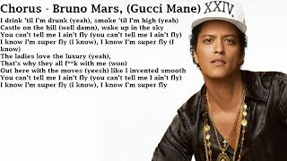 (Clean Lyrics) Gucci Mane, Bruno Mars, Kodak Black - Wake Up In The Sky