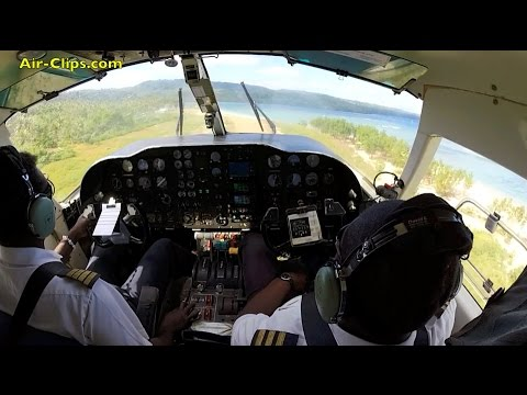 Air Vanuatu Harbin Y-12 COCKPIT Lamen Bay to Port Vila, Vanuatu [AirClips full flight series]
