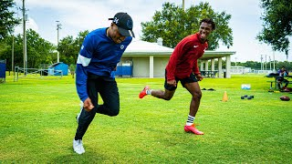 RACING ONE OF THE FASTEST NFL PLAYERS I KNOW.. (HE RUNS A 4.28!)