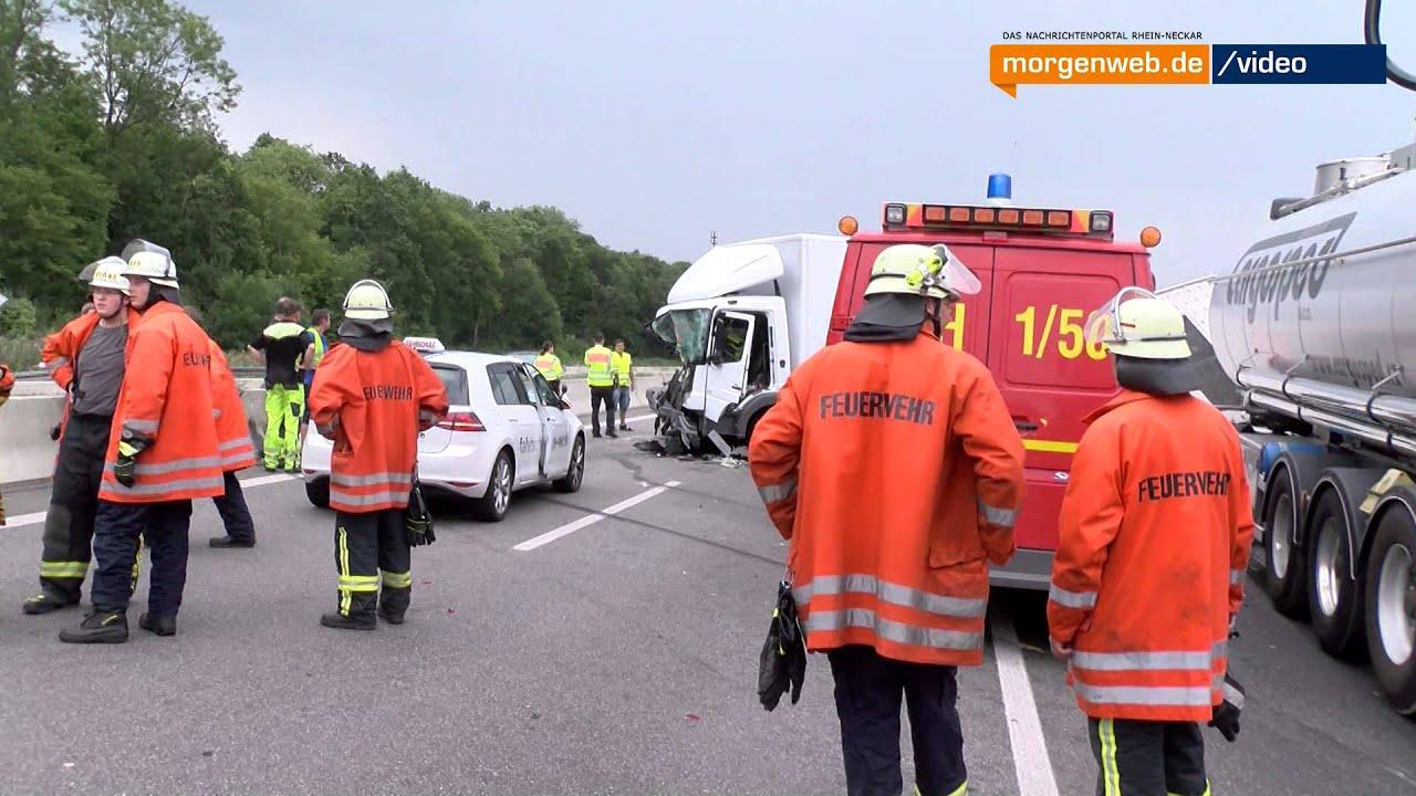 Bad Rappenau: Schwerer Unfall auf der A6 - YouTube