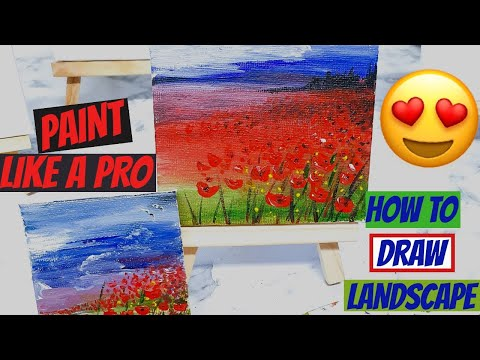 -ART TUTORIAL (Step by Step) Landscape Acrylic Painting (Beginners/Advanced) Draw Technique