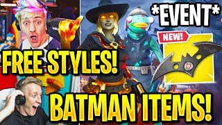 Streamer FINDS *SECRET* HALLOWEEN STYLES + *ALL* BATMAN EVENT Items & Skins! (Fortnite Moments)