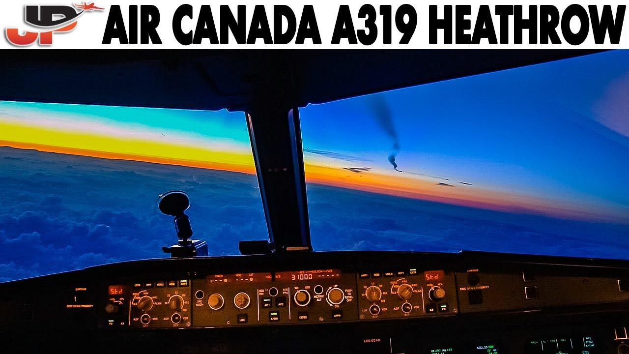 Piloting AIR CANADA Airbus A319 into London Heathrow | Cockpit Views