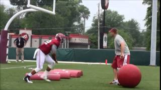 High-energy Alabama LB coach Tosh Lupoi leads 2015 spring practice drills