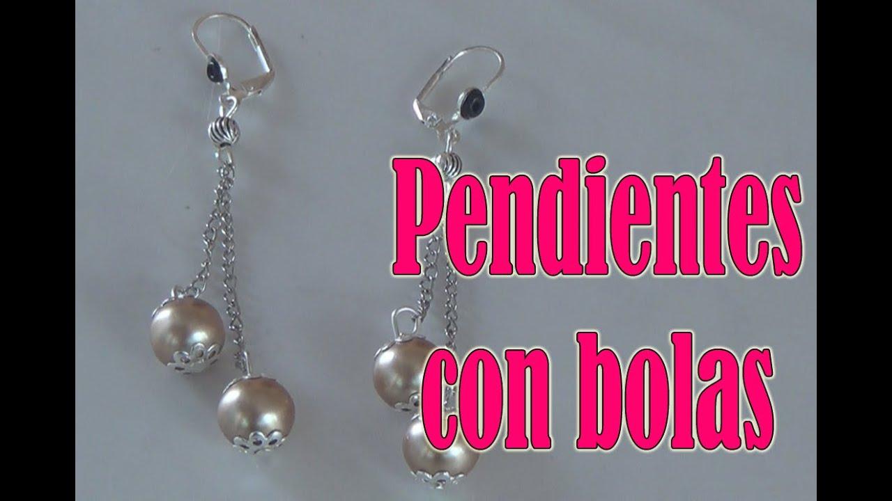 Pendientes con bolas, Bisuteria en español 2016,10,24