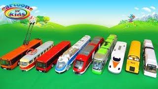 Троллейбус и Трамвай, Автобус и Поезд. Городской транспорт - игрушки машинки. Мультики для детей