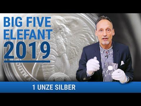1 UNZE SILBER - BIG FIVE ELEFANT 2019 - NUR 15.000 STÜCK