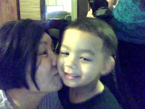 Mom and son on webcam