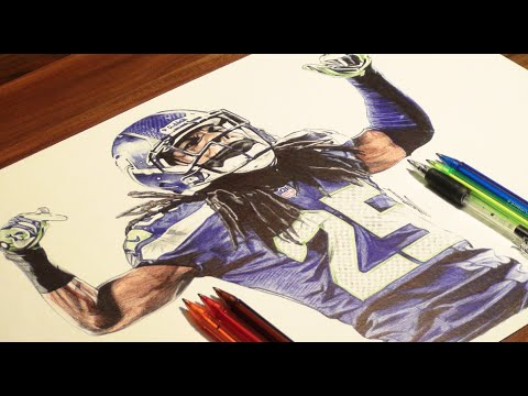 Richard Sherman Drawing - Seahawks - DeMoose Art