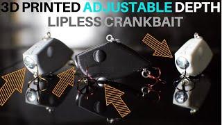 3D PRINTED ADJUSTABLE DEPTH LIPLESS CRANKBAIT 2 INCH