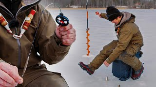 Pimple fishing for perch - follow the ice-fishing pros jigging from the ice