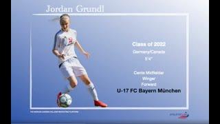Women s Soccer Jordan Grundl Germany All Rounder CM Forward Recruit 2022