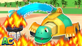 TURTLE FIRETRUCK rescues the CITY! | Emergency Vehicles for Kids | AnimaCars | Animal Trucks Cartoon