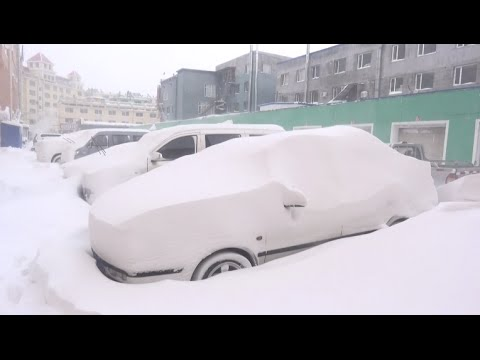 Heavy Snow Covers Vehicles in Northeast China