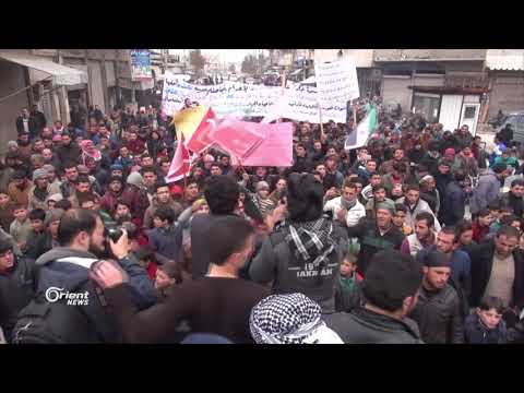 أهالي تادف بريف حلب الشرقي  يتظاهرون مطالبين الجيش الحر بتحرير مدينتهم  - 19:20-2018 / 2 / 16