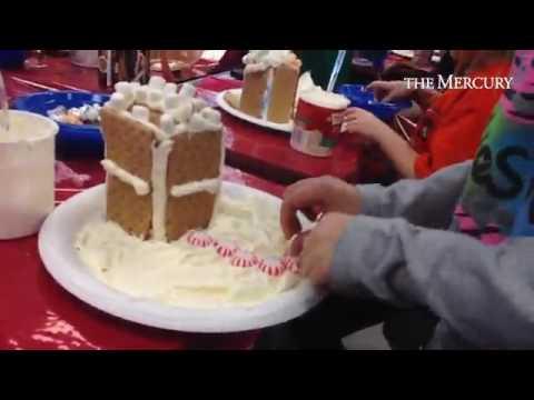 Mrs. James second grade class at Schwenksville Elementary School making gingerbread house!