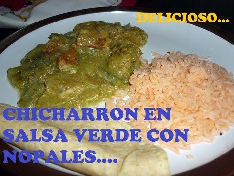Chicharron en salsa verde con nopales: receta de cocina sencilla ...