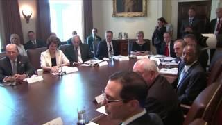 Priebus, Cabinet members praise Trump in first White House meeting Members of President Trump's Cabinet met on June 12 at the White House., From YouTubeVideos