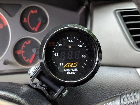 EVO 8, AEM Air/Fuel Ratio Gauge install!!