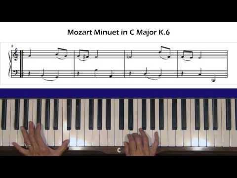 Mozart Minuet in C, K.6 Piano Tutorial