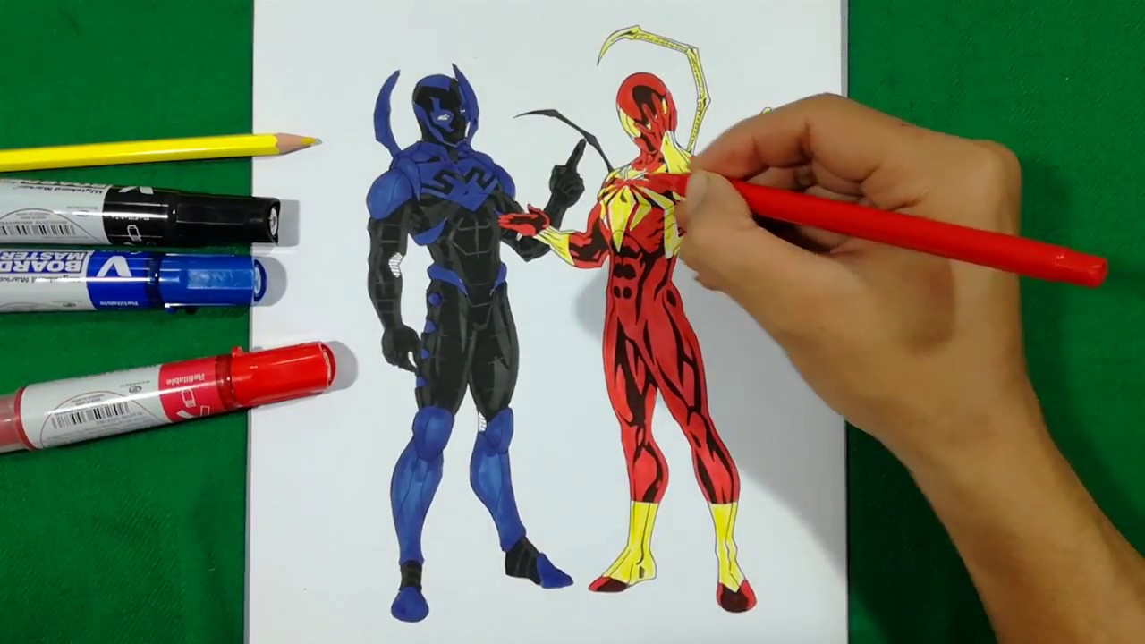 IRON SPIDER Vs BLUE BEETLE Coloring Pages SAILANY Coloring Kids ...
