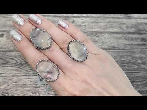 Серебряное кольцо Корона 71311 флюорит