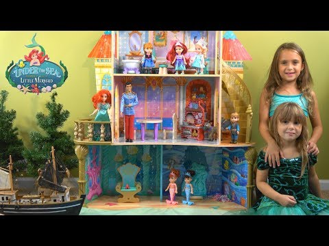 Frozen Princess Elsa and Anna Visit Ariel and Under the Sea Kingdom Colorful Fish and Sea Creatures