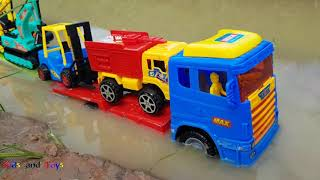 Transport Truck Crossing The River With Excavator Forklift Cars Toys For Kids   Kid Videos