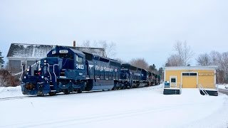 A New Pan Am SD40-2 #3403 Leads an Eastbound Thru Central Maine