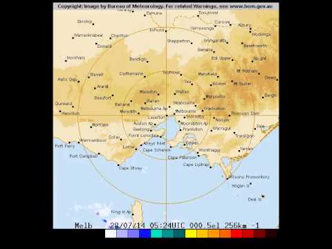 Rain for Melbourne at zoom level 256 kms on Monday 28 of July, 2014
