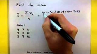 Statistics - Find the mean