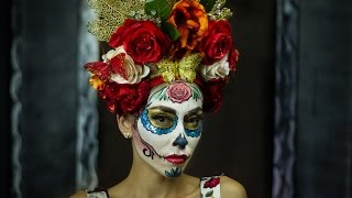 Dia de los muertos sugar Skull Makeup tutorial by Citylocs.com and Paulina