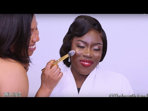 💄WEDDING  HAIR AND MAKEUP TRANSFORMATION 👰 💇 SNS HAIR| BLACK  BRIDE  BEAUTY MAKEUP