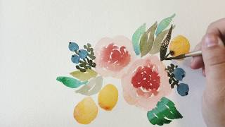 Loose Watercolor - Juliet Garden Roses & Kumquats