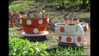 Клумбы из покрышек и  шин в виде чайных чашек. Устроим цветочное чаепитие в саду