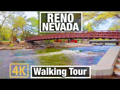 4K City Walks - Reno Nevada - Truckee River Walk - During Lockdown - Virtual Treadmill Scenery Walk