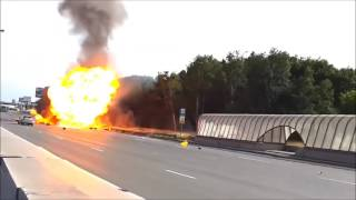 Truck Full of Gas Cylinders Explode in Highway, Russia | firefighting