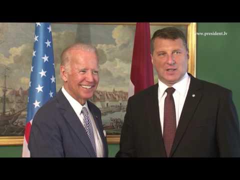 Valsts prezidenta Raimonda Vējoņa divpusējā tikšanās ar ASV viceprezidentu Džo Baidenu 23/08/2016