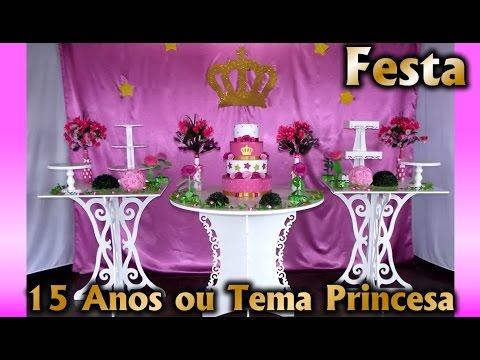 Decoração de Festa 15 Anos ou Princesa Rosa e Dourado - Aniversario infantil / Fiesta / Party kids