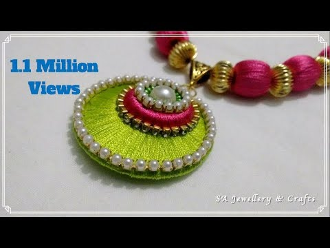 How to make Silk Thread Pendant at Home !!