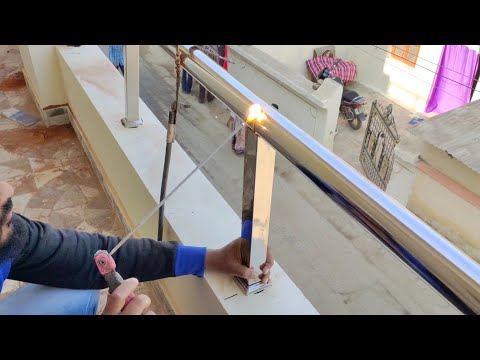Stainless Steel Glass Railing Installation || How To Make Steel Glass Railing Design